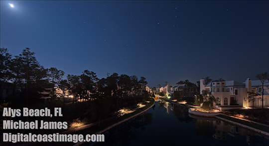 Night shot with the moon at Alys Beach